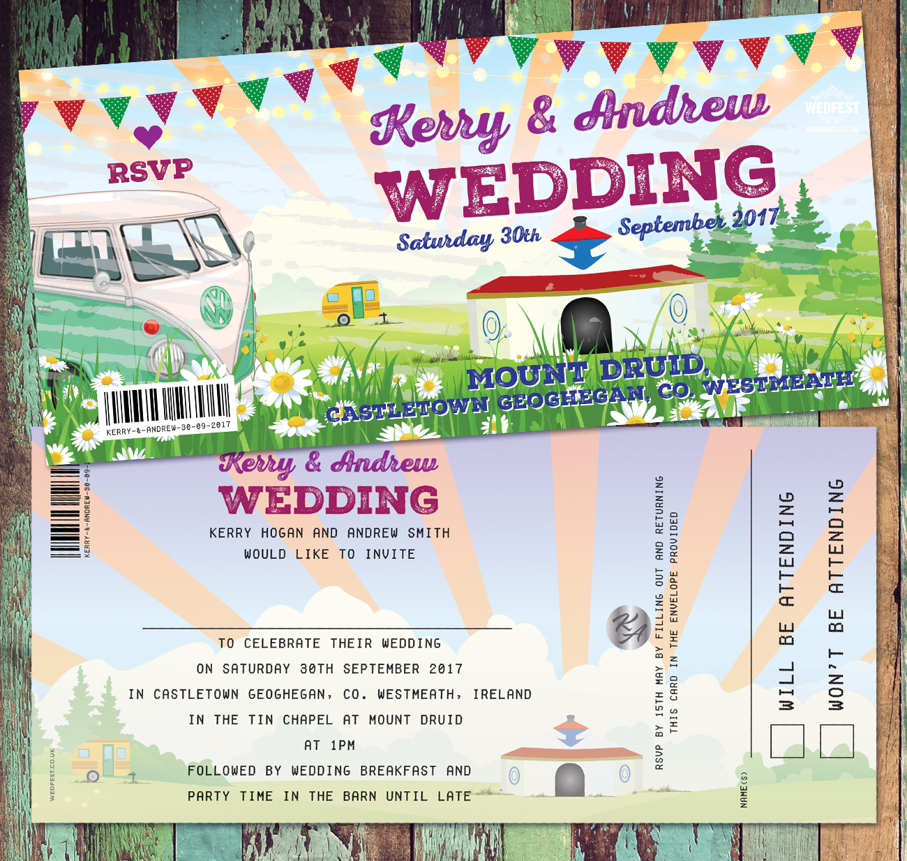mount druid wedfest festival-weddings ireland invitations