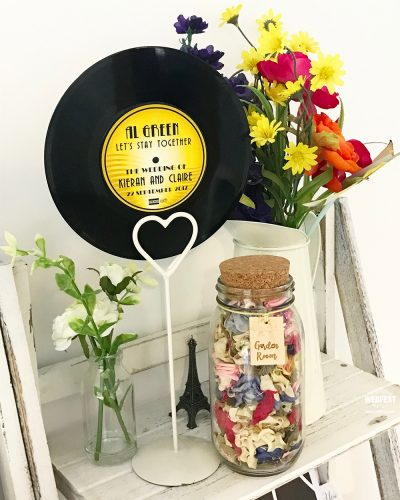 music theme weddings 7 inch 45s vinyl records table names numbers