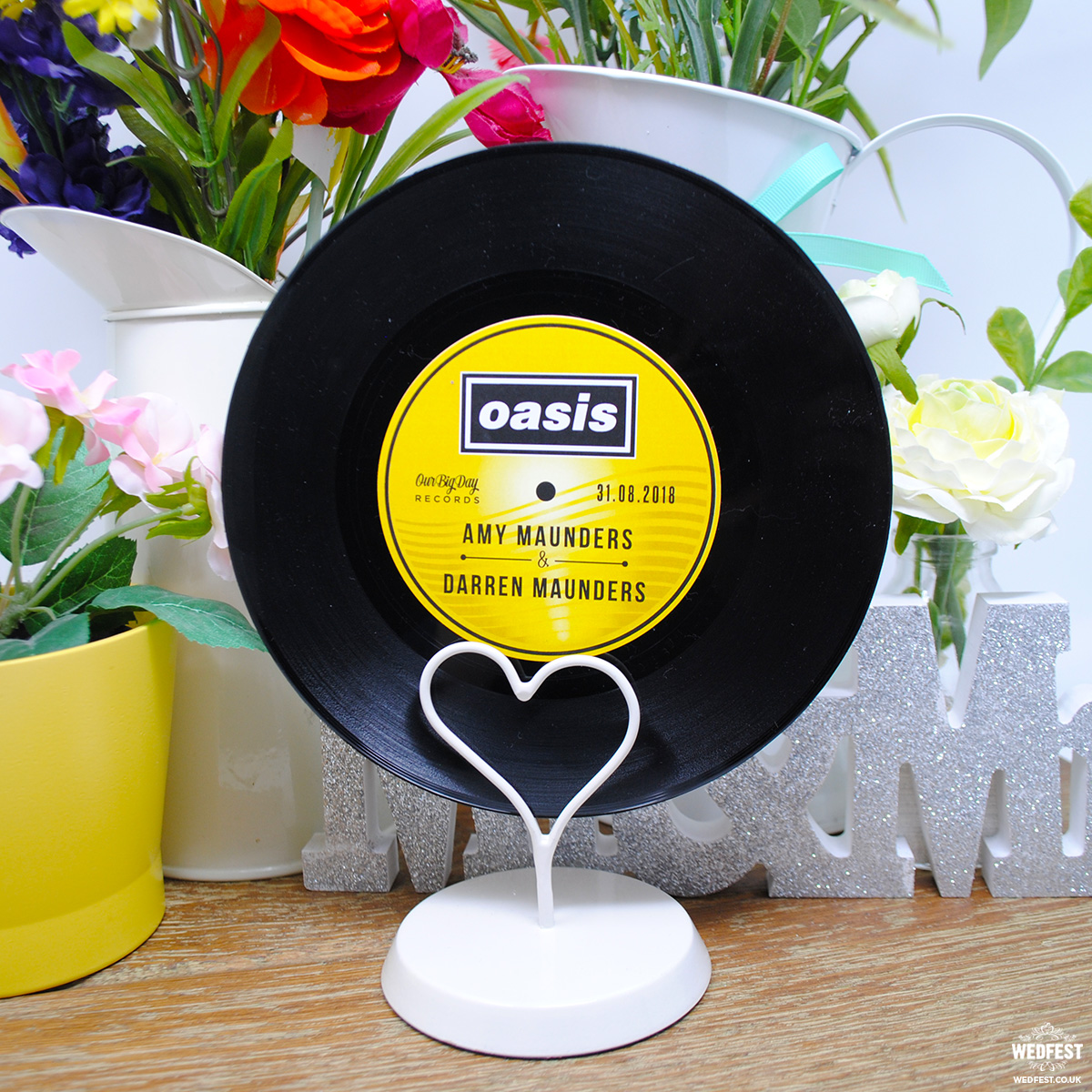 oasis vinyl record wedding table number centerpiece