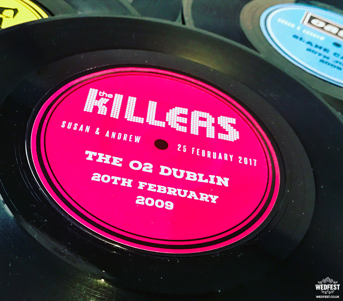 personalised vinyl record wedding table centrepiece