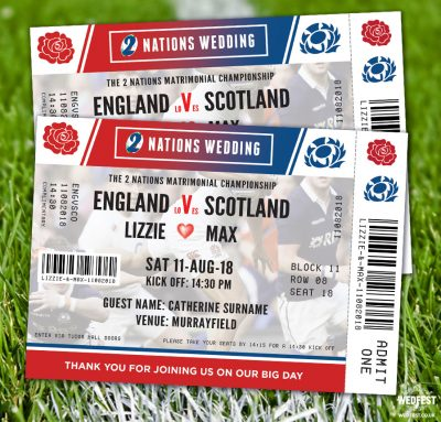 rugby ticket wedding invitations place cards England vs Scotland