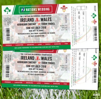 rugby ticket wedding invites ireland vs wales