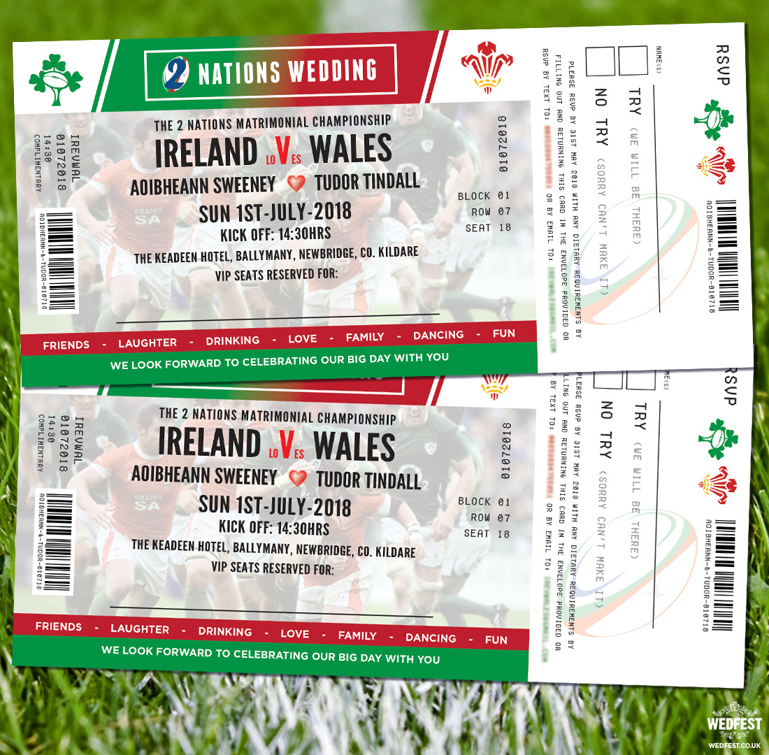 rugby ticket wedding invites ireland vs wales