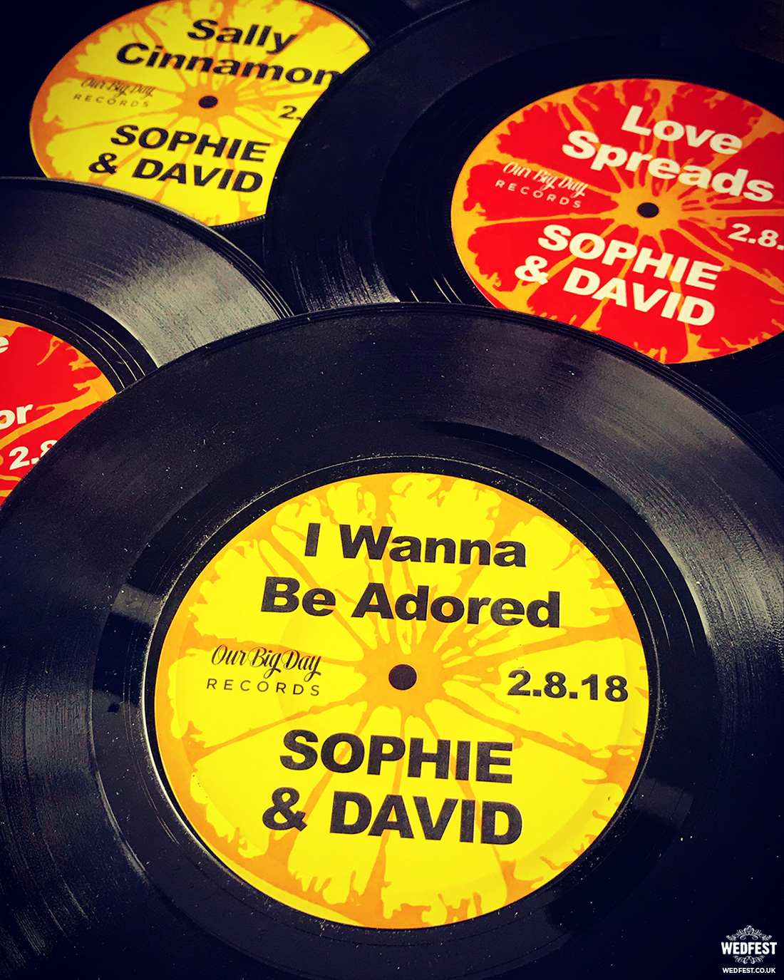 stone roses wedding vinyl record table names