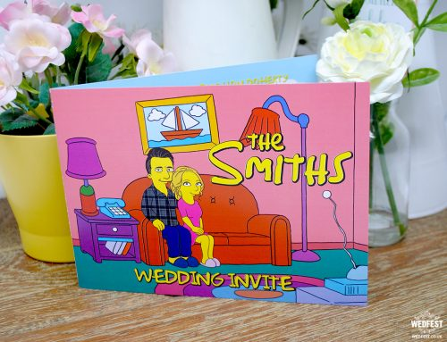 Simpsons Style Characters Themed Wedding Invitations