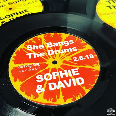 the stone roses wedding vinyl record table centrepieces