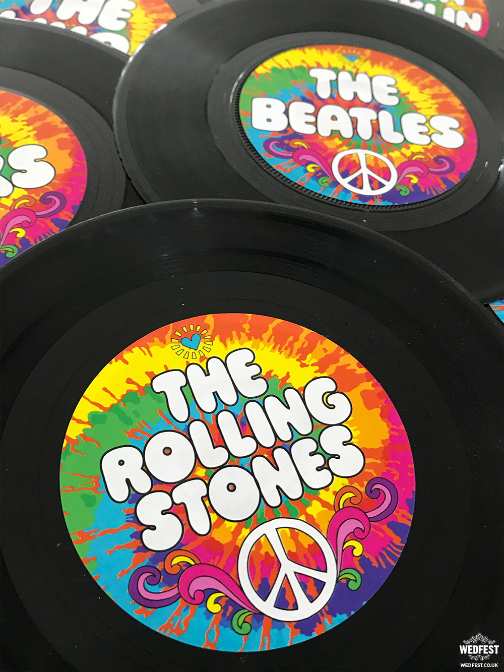 tie dye themed wedding vinyl records