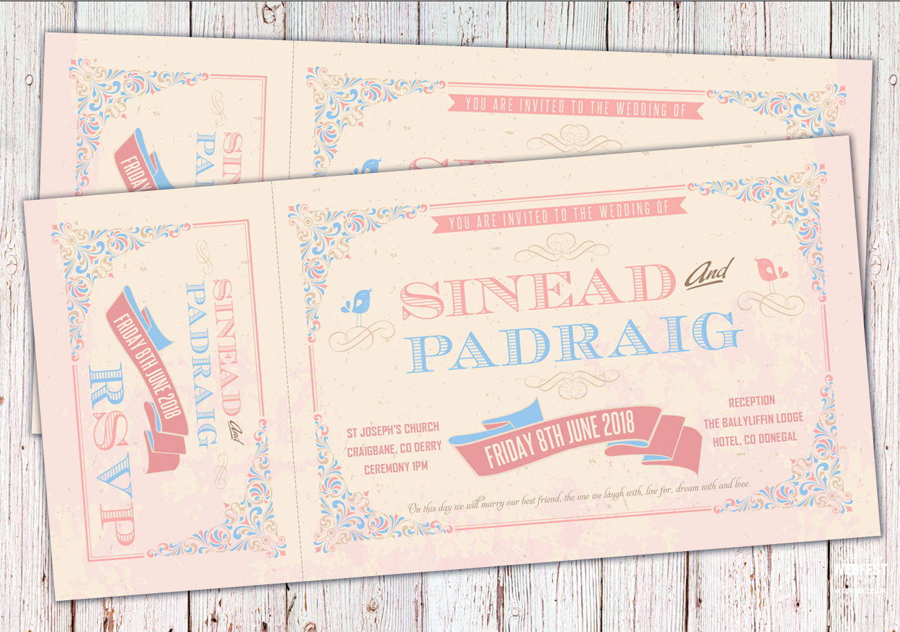 vintage ticket wedding invitations ireland festival wedfest