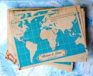 vintage world map wedding invitations ireland