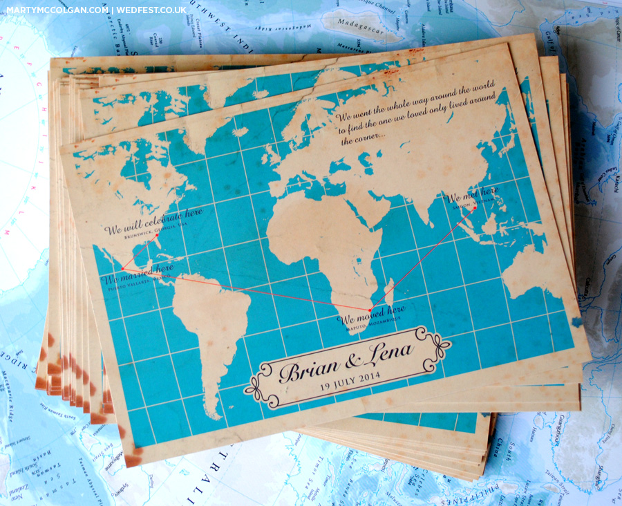 vintage world map wedding invitations ireland