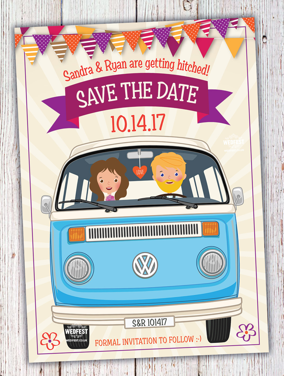 vw camper van festival boho wedding save the dates invites