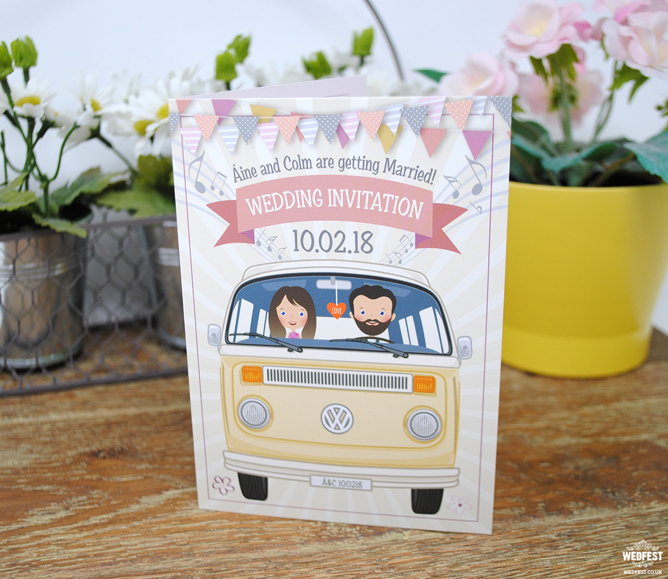 vw campervan of love wedding invitations
