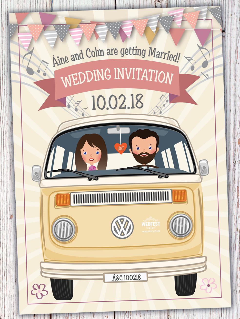 vw campervan of love wedding invites