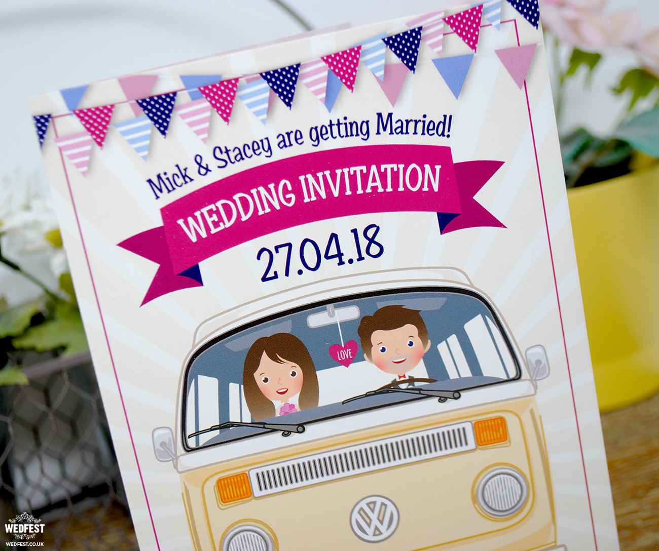vw van camper wedding invitation