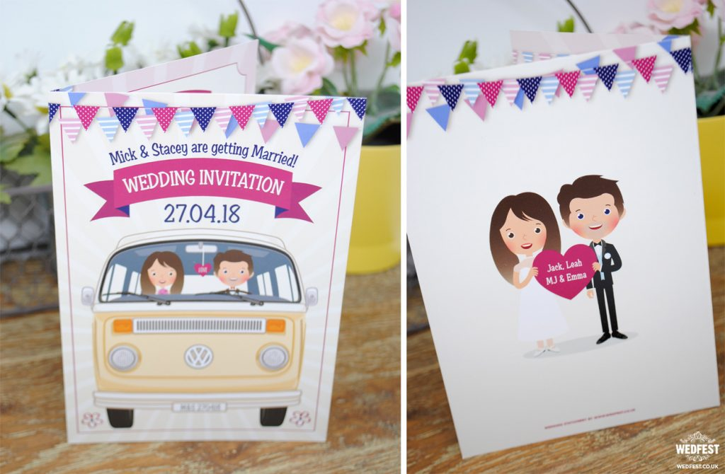 vw van caricatures wedding invitations