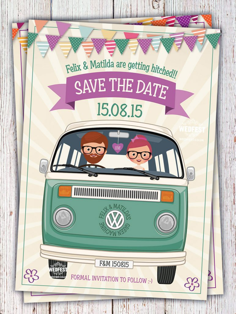 vw van wedding invitation save the date cards