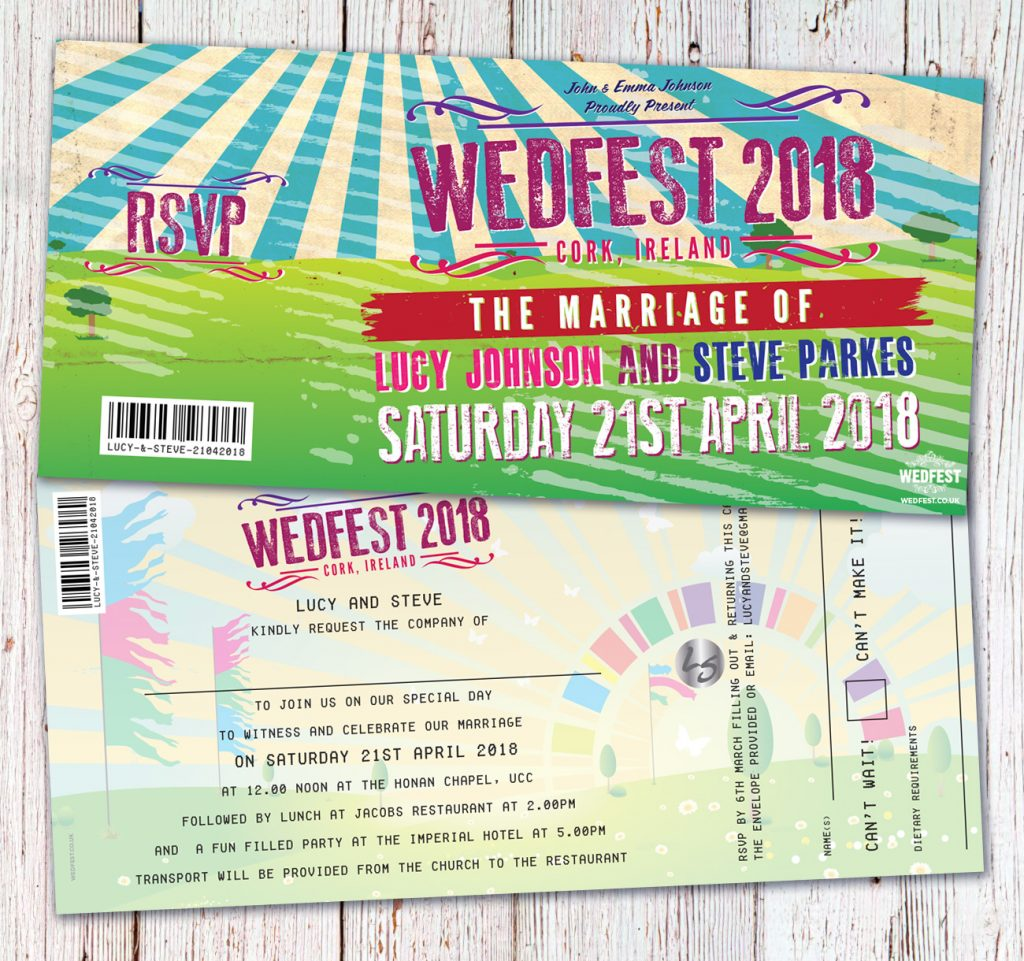 wedfest ireland festival wedding invitations