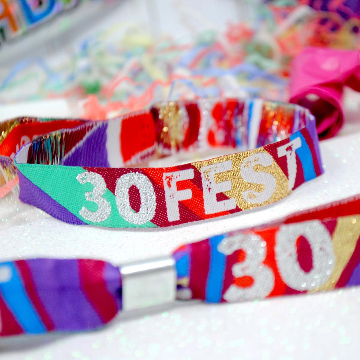 30fest festival theme birthday party wristbands