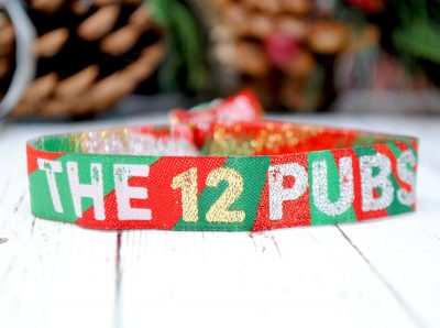 THE 12 PUBS christmas pub crawl party wristbands