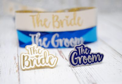 bride and groom badges and wristbands