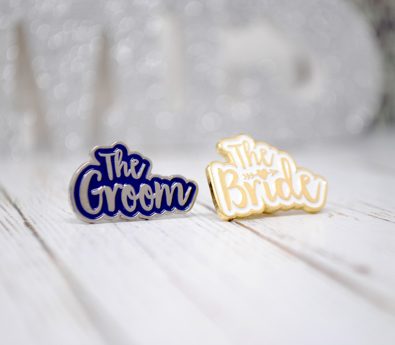 bride and groom wedding hen stag pin badges