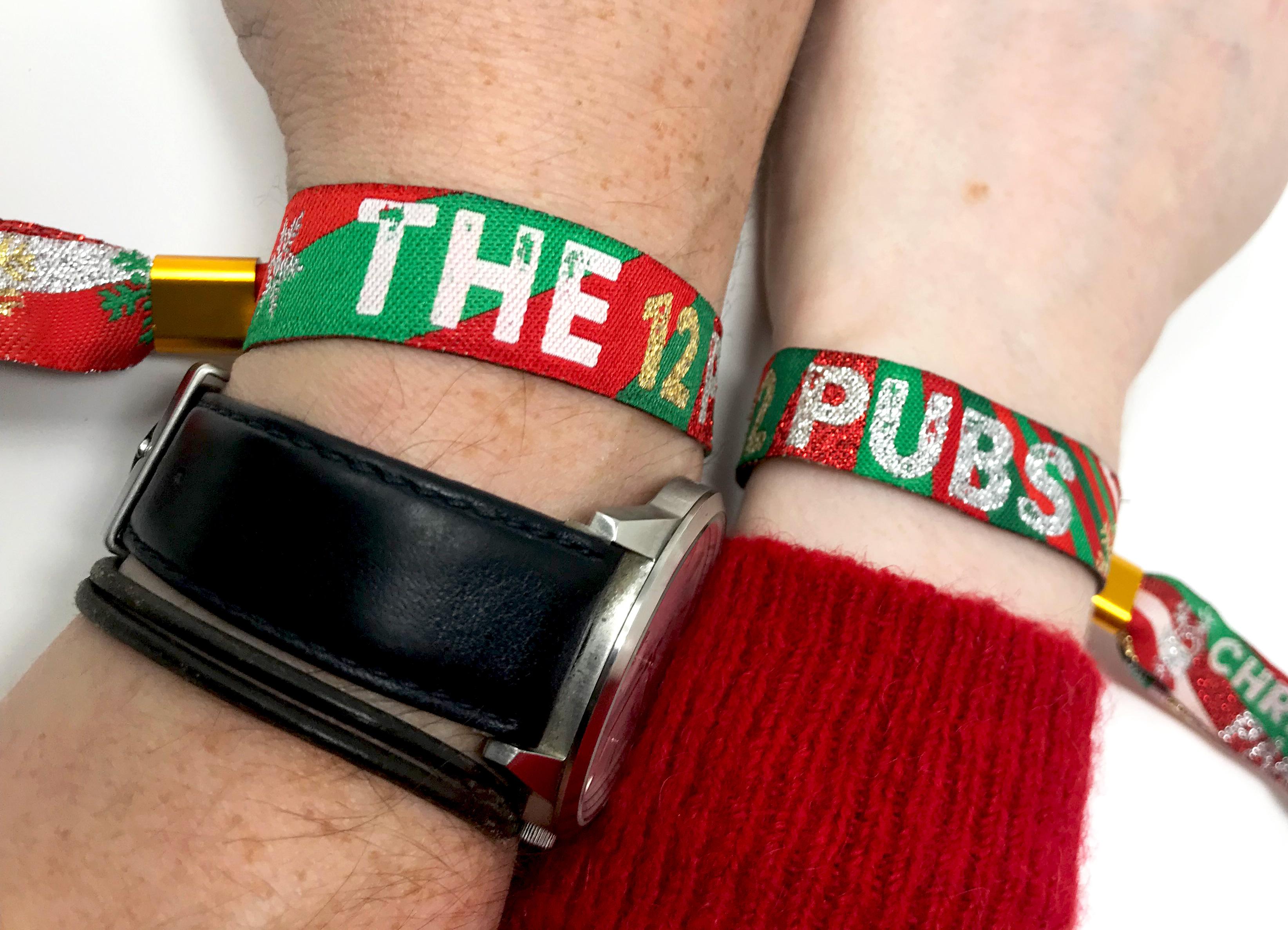 christmas party accessories pub crawl wristband favours twelve pubs