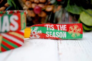 christmas party themed festival style wristbands