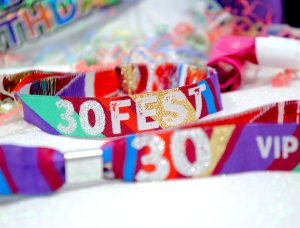 festival theme 30th birthday party wristbands