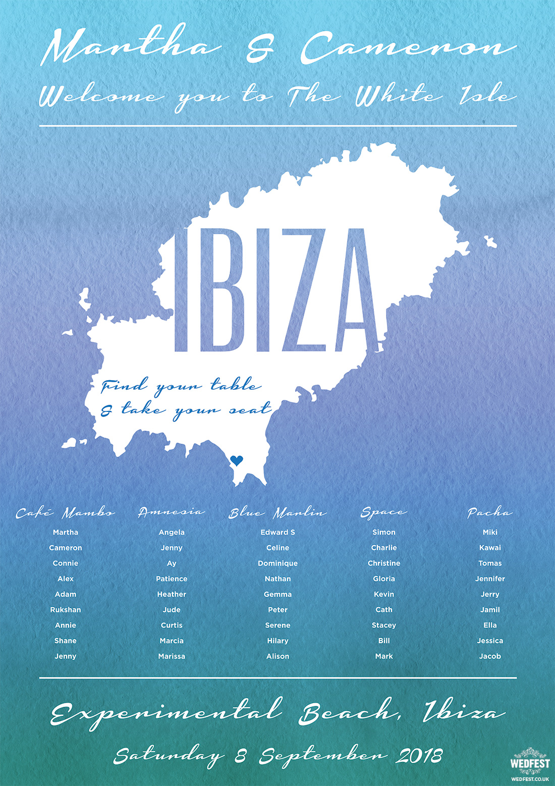 ibiza destination wedding table seating plan
