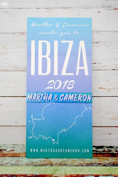 ibiza wedding save the date card wristband