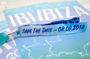 ibiza wedding save the date festival wristbands