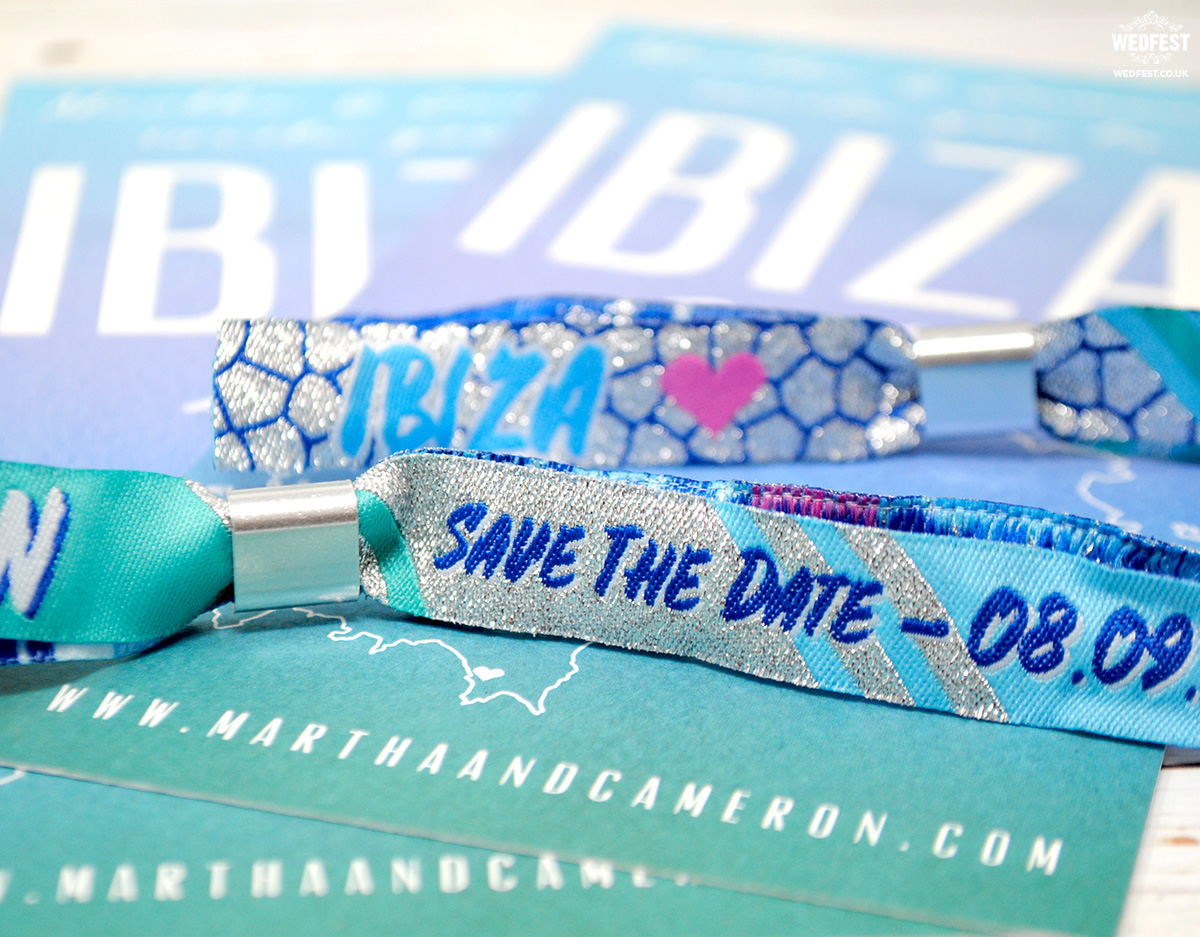 ibiza wedding save the date invitation wristband