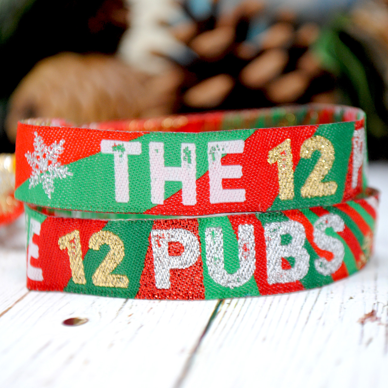 the 12 pubs christmas pub crawl wristbands