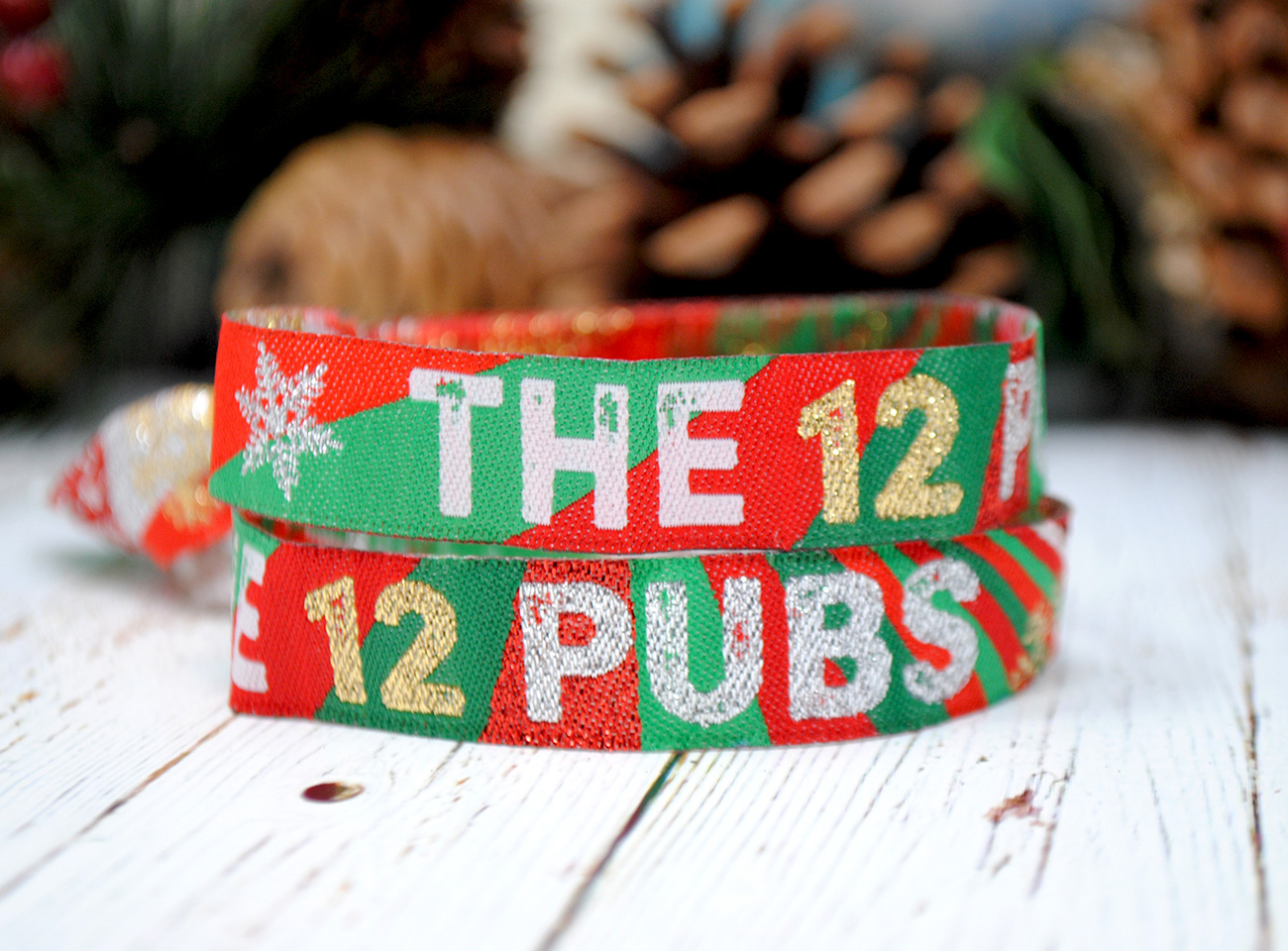 the 12 pubs of christmas party pub crawl wristbands accessories