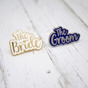 the bride and groom wedding hens stag badges