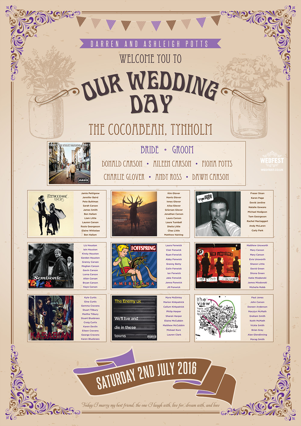 vintage festival chic music wedding seating table plan