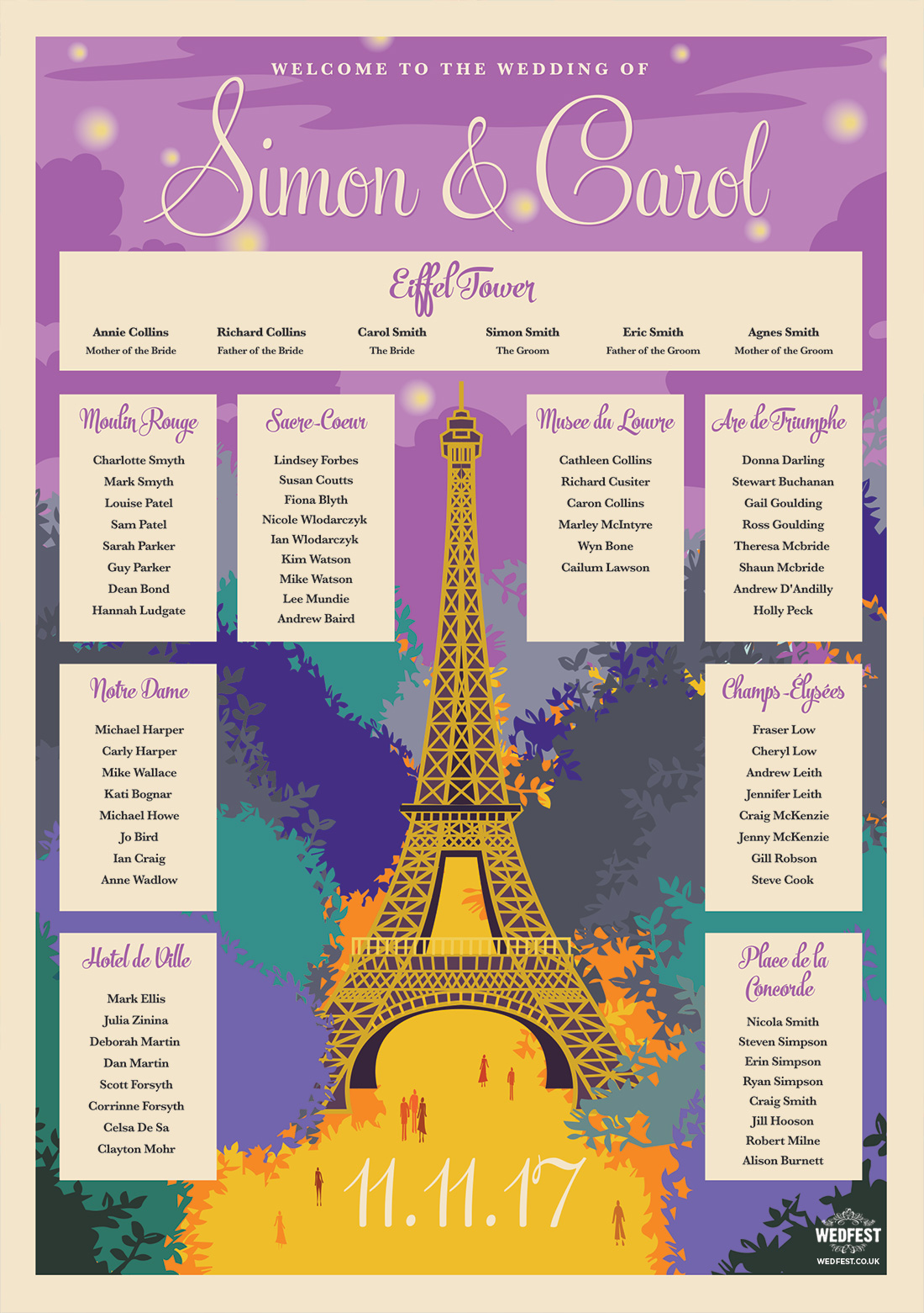 vintage paris theme wedding table seating plan