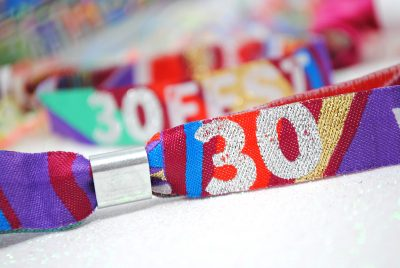 woven fabric festival 30th birthday party wristbands