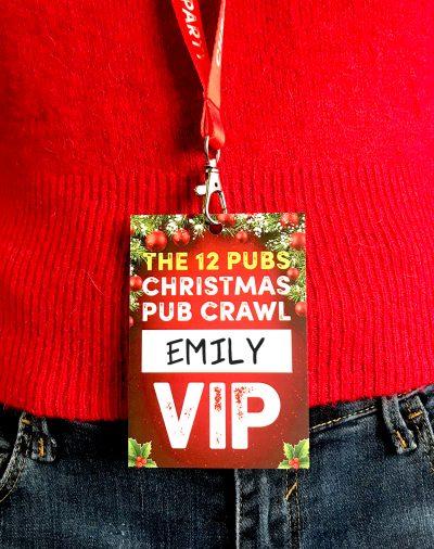 12 pubs christmas pub crawl vip pass lanyard