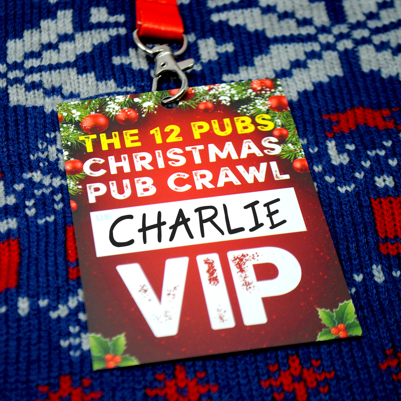 12 pubs of christmas vip lanyard