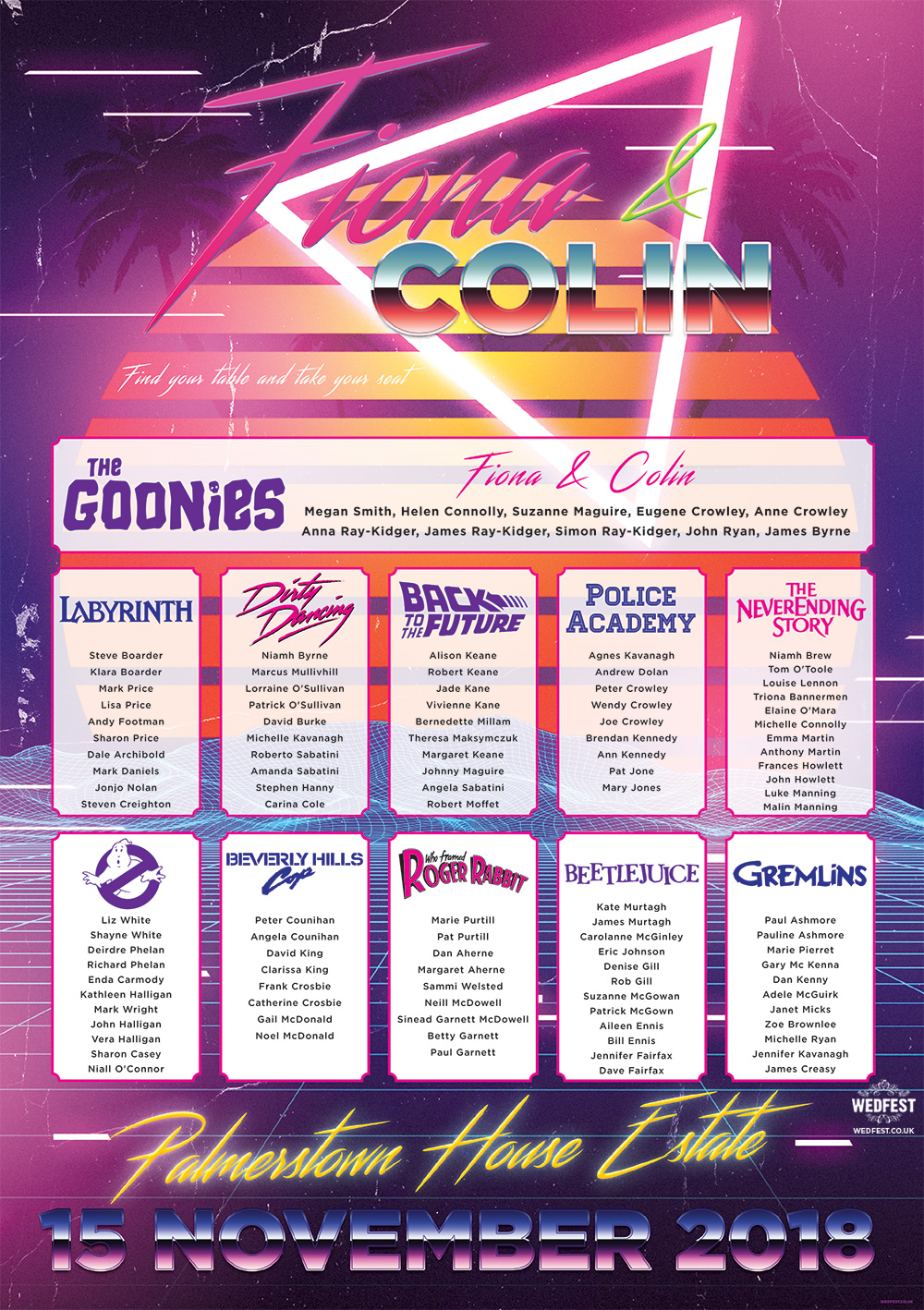 80s movies neon synthwave retro wedding table plan