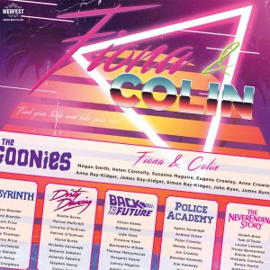 80s movies synthwave outrun neon wedding table plan