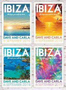 Ibiza Vintage Travel Poster Postcard destination Wedding Invitations