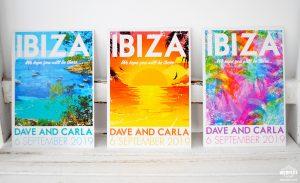 Ibiza Vintage poster Postcards Wedding Invitation