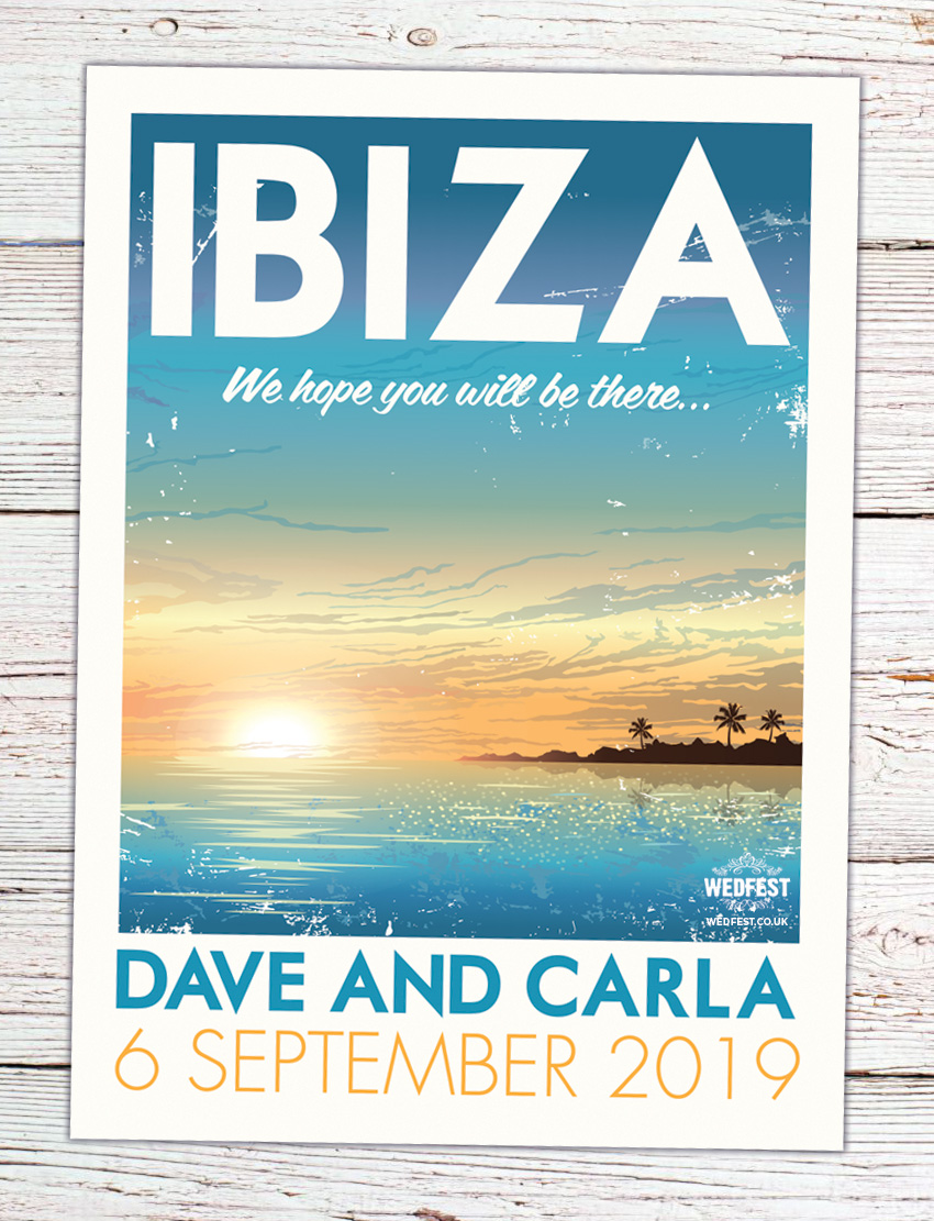 Ibiza Vintage poster Wedding Invitation