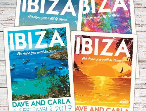 Ibiza Vintage Travel Poster Postcards Wedding Invitations