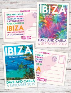 Vintage ibiza posters Wedding save the date invitations