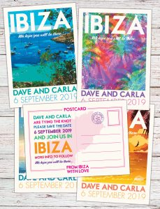 Vintage ibiza posters postcards-Wedding save the date cards