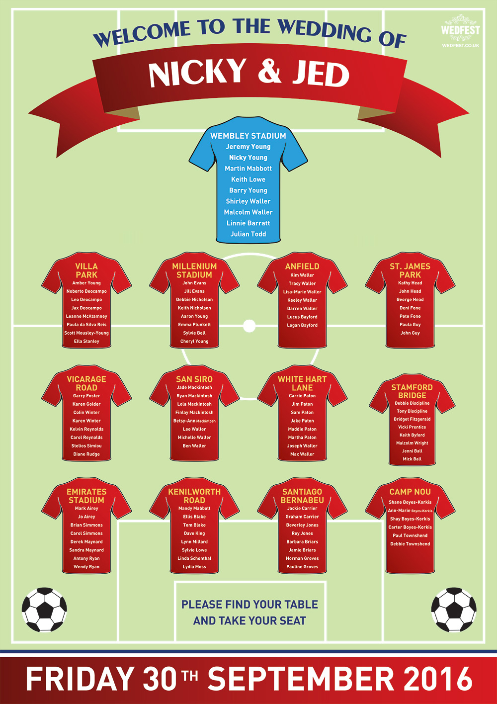 arsenal theme football wedding table plan