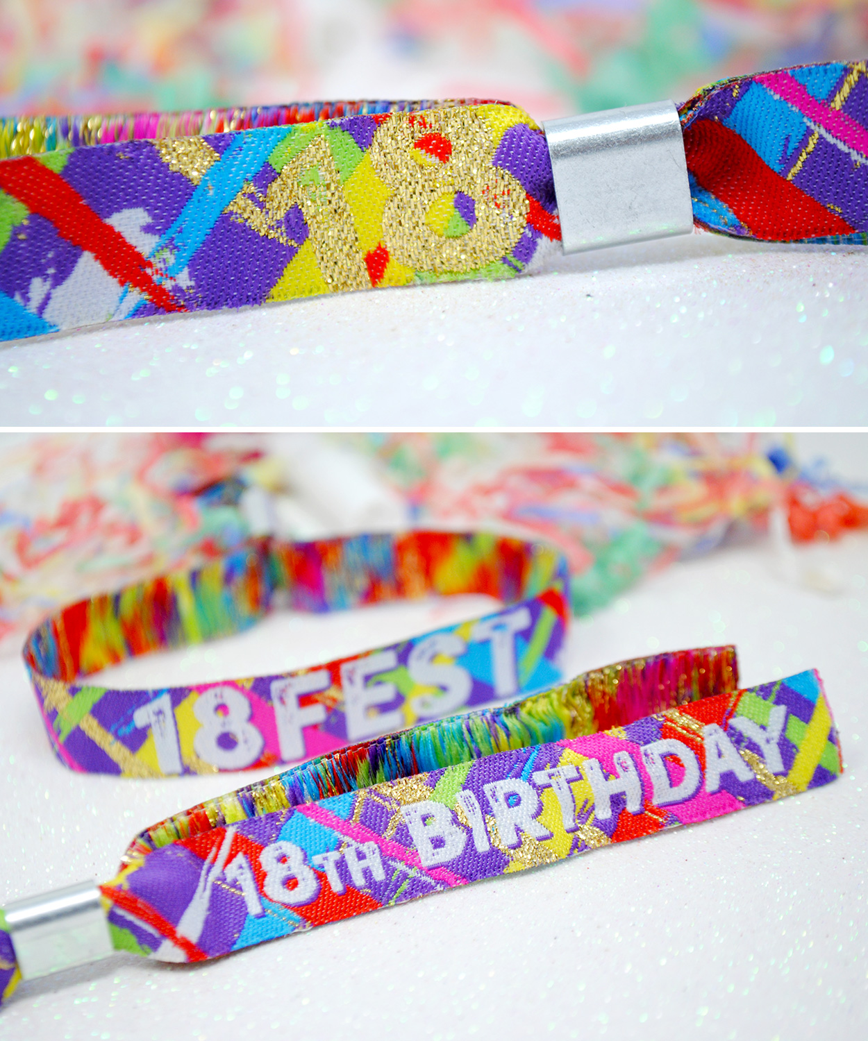 festival themed 18th birthday party wristbands